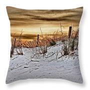 Snow Fence On Horizon Throw Pillow