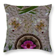 Snow Flowers And Orchids In Heavenly Wisdom Throw Pillow