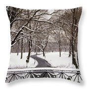 Snow In Central Park Throw Pillow