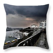 snow in port mahon - A very rare image of a mediterranean villa sided to sea covered of white Throw Pillow