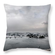 snow in port mahon - A very rare image of a mediterranean villa sided to sea covered of snow Throw Pillow