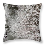 Snow Laden Branches II Throw Pillow