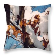 Snow On The Fall Leaves Throw Pillow