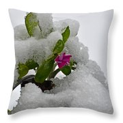Snow On The Flowers Throw Pillow
