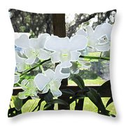 Snow White Orchid On The Water Accented Fx  Throw Pillow
