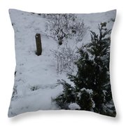 Snow With Small Tree Throw Pillow