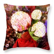 Snowball Plant Abstract 4 Throw Pillow