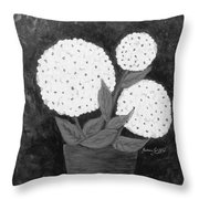 Snowball Plant B W Throw Pillow