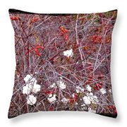 Snowberries And Rosehips Throw Pillow