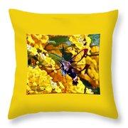 Snowberry Clearwing Hummingbird Moth Throw Pillow