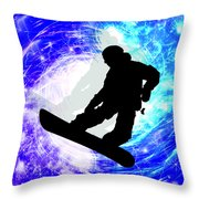 Snowboarder In Whiteout Throw Pillow
