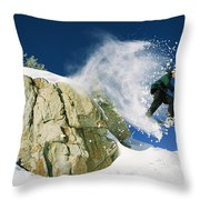 Snowboarder Jumping Off A Big Rock Throw Pillow