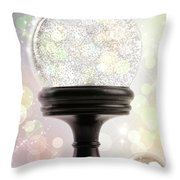 Snowglobe With Ornaments Against Colored Background Throw Pillow