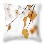 Snowing In Autumn Throw Pillow