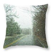 Snowing Morning Throw Pillow