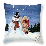 Snowman In Top Hat Throw Pillow by Gordon Lavender