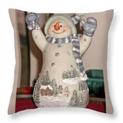 Snowman With Bell Throw Pillow