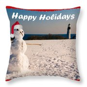 Snowman With Santa Hat Throw Pillow