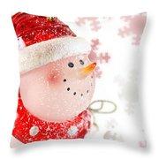 Snowman With Snowflakes  Throw Pillow