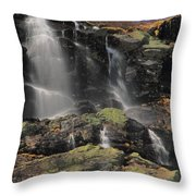 Snowmelt Waterfalls In Tuckermans Ravine Throw Pillow