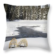 Snowshoes By Snowy Lake Lake Louise Throw Pillow by Michael Interisano