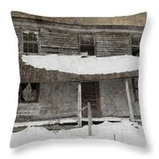 Snowy Abandoned Homestead Porch Throw Pillow