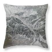 Snowy And Hazy Central Russia Showing Throw Pillow