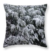 Snowy Branches Winter Throw Pillow