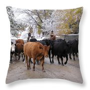 Snowy Cattle Drive Throw Pillow