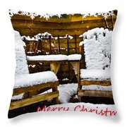 Snowy Coffee Holiday Card Throw Pillow