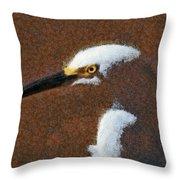 Snowy Egret Profile Painterly Throw Pillow