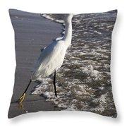 Snowy Egret Walking Throw Pillow