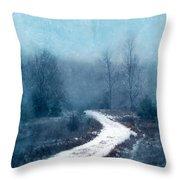 Snowy Foggy Rural Path Throw Pillow