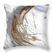 Snowy Fountain Grass Throw Pillow
