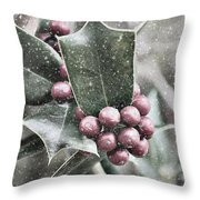 Snowy Holly Christmas Card Throw Pillow