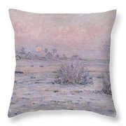 Snowy Landscape At Twilight Throw Pillow