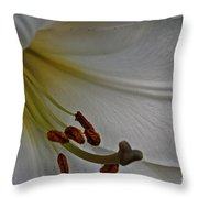Snowy Lily Throw Pillow
