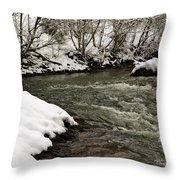 Snowy Mountain River Throw Pillow