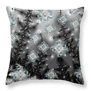 Snowy Night I Fractal Throw Pillow