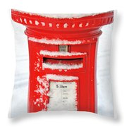 Snowy Pillar Box Throw Pillow