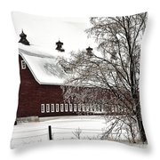 Snowy Red Barn Throw Pillow