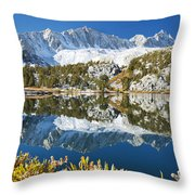Snowy Reflections On Lake Throw Pillow