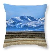 Snowy Rockies Throw Pillow