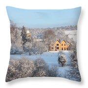 Snowy Scene In England Throw Pillow