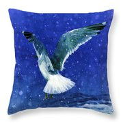 Snowy Seagull Throw Pillow by Debra  Miller