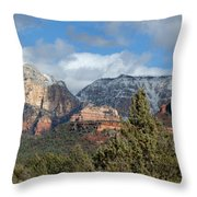Snowy Sedona Afternoon Throw Pillow