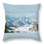 Snowy Tetons Throw Pillow