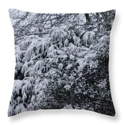Snowy Winter Branches Throw Pillow