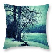 Snowy Woods By A Lake Throw Pillow