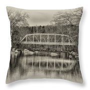Snyder Road Bridge At Green Lane Park In Sepia Throw Pillow